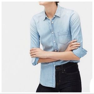 J. Crew Factory Pocket Chambray Perfect Fit Top